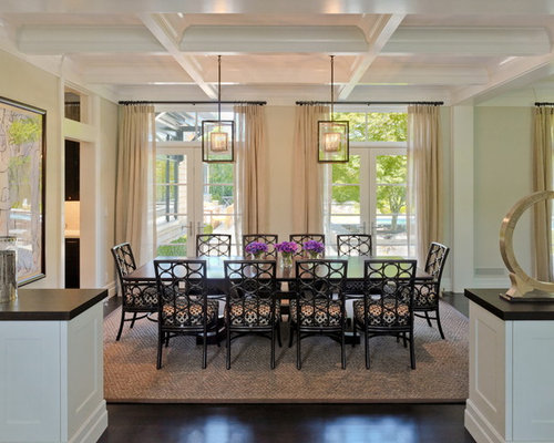 Victorian Dark Wood Floor Dining Room Idea In San Francisco With Beige Walls