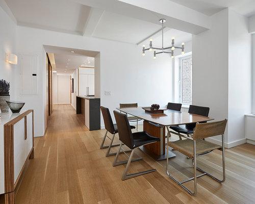 Example Of A Trendy Medium Tone Wood Floor And Beige Floor Enclosed Dining  Room Design In Part 53