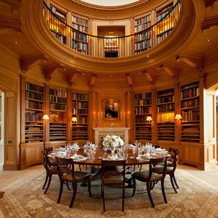 Idée de décoration pour une salle à manger victorienne fermée avec un mur marron, une cheminée standard, un manteau de cheminée en pierre et un sol beige.