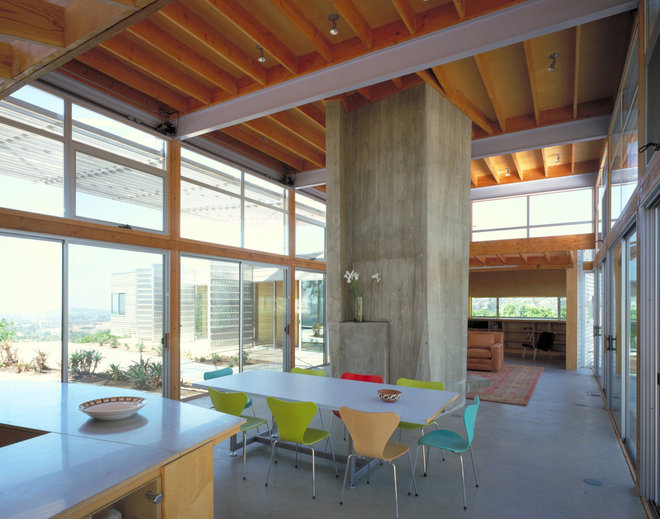 Industrial Dining Room by Kevin Daly Architects