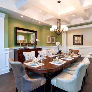 Example of a classic dark wood floor dining room design in Los Angeles with green walls