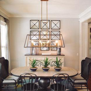 Свежая идея для дизайна: отдельная столовая среднего размера в стиле модернизм с белыми стенами, паркетным полом среднего тона и бирюзовым полом - отличное фото интерьера