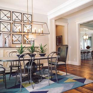 На фото: отдельная столовая среднего размера в стиле модернизм с белыми стенами, паркетным полом среднего тона и бирюзовым полом