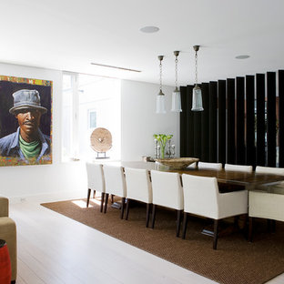 Trendy light wood floor great room photo in Sydney with white walls