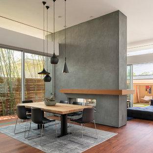 Foto de comedor moderno con paredes blancas, suelo de madera oscura, chimenea de doble cara, marco de chimenea de hormigón y suelo marrón