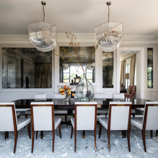 Inspiration for a transitional separate dining room in Sydney with grey walls, dark hardwood floors, black floor and decorative wall panelling.