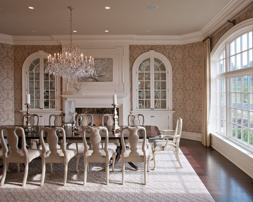 Victorian Enclosed Dining Room Idea In DC Metro With Multicolored Walls Dark Wood Floors
