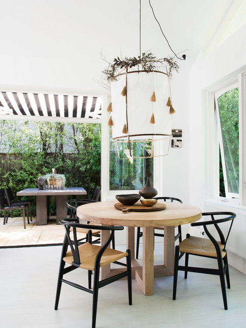 Design Ideas For A Country Kitchen/dining Combo In Sydney With White Walls  And Grey