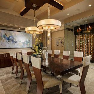 Example of a southwest beige floor dining room design in Las Vegas with beige walls