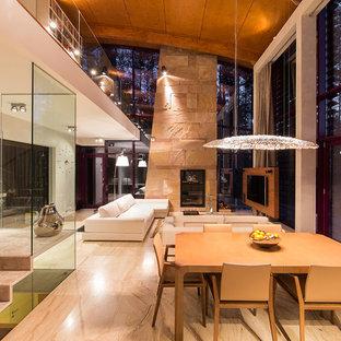 Imagen de comedor contemporáneo, de tamaño medio, abierto, con suelo de mármol