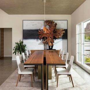 Esempio di una sala da pranzo minimal con pavimento in pietra calcarea