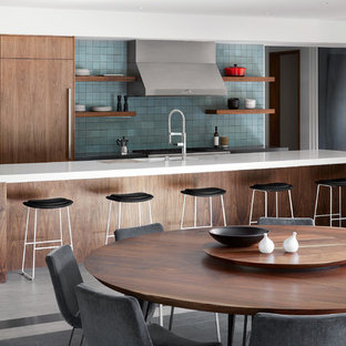 Kitchen/dining room combo - huge modern gray floor and porcelain tile kitchen/dining room combo idea in San Francisco with white walls and no fireplace