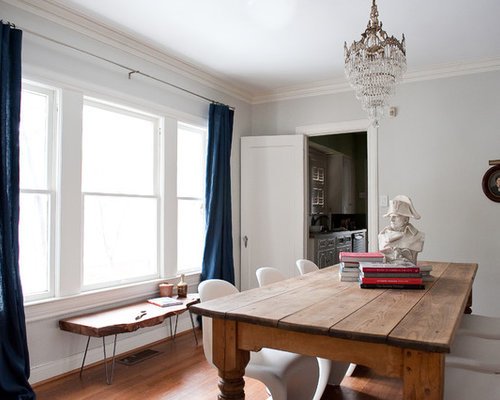 Eclectic Dark Wood Floor Dining Room Photo In Dallas With White Walls