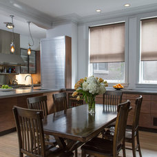 Transitional Dining Room by Ann Clark Architects LLC