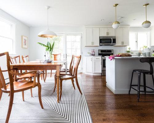 small minimalist medium tone wood floor and brown floor kitchendining room combo photo in - Small Dining Room Design Ideas