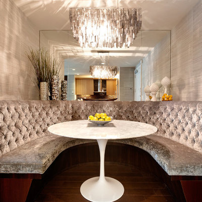 Inspiration for a contemporary dark wood floor dining room remodel in New York