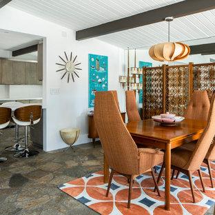 Ispirazione per una sala da pranzo aperta verso il soggiorno minimalista di medie dimensioni con pareti bianche, pavimento in ardesia, nessun camino e pavimento multicolore