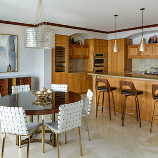 Genial Island Style Beige Floor Kitchen/dining Room Combo Photo In Hawaii With  White Walls