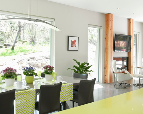 hanging living room and vancouver kitchen design. Large Trendy Concrete Floor Kitchen dining Room Combo Photo In Vancouver  With Gray Walls And Hanging Living Design D Best Builders