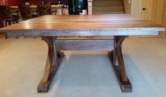 Walnut Bar Height Trestle Table