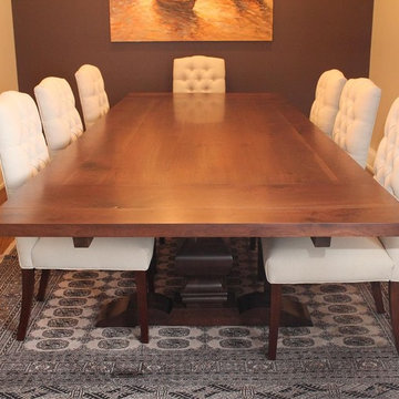 walnut dining table with trestle base