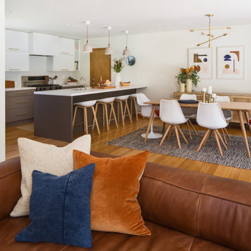 Warm contemporary Kitchen and living room in Arcadia