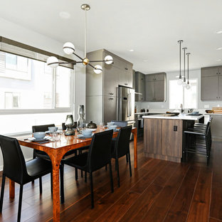Kitchen/dining room combo - contemporary dark wood floor and brown floor  kitchen/dining