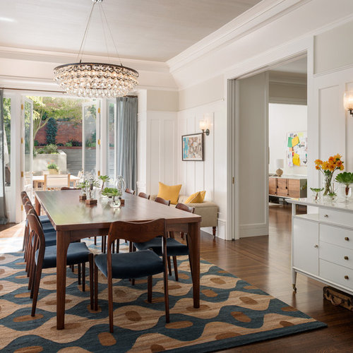 Example Of A Transitional Dining Room Design In San Francisco With White Walls