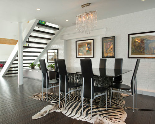 Contemporary Dining Room Idea In Boston With White Walls And Dark Hardwood Floors