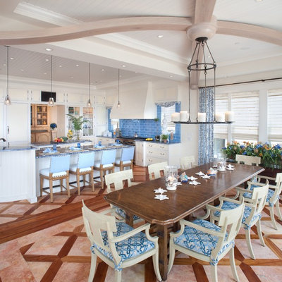 Inspiration for a large coastal kitchen/dining room combo remodel in Philadelphia with white walls and no fireplace