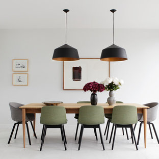 Inspiration For A Mid Sized Modern Dining Room Remodel In Dublin With White Walls
