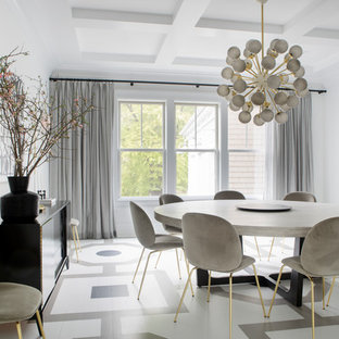 Trendy multicolored floor dining room photo in New York with white walls and no fireplace