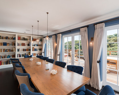 Dining Room   Beach Style Dark Wood Floor Dining Room Idea In Devon With  Blue Walls