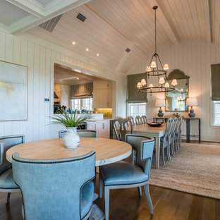 Inspiration for a huge shabby-chic style light wood floor and brown floor kitchen/dining room combo remodel in Other with white walls