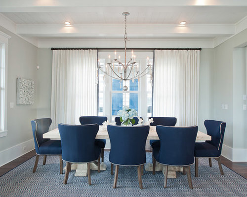 Coastal Dark Wood Floor And Brown Floor Dining Room Photo In Other With  Gray Walls