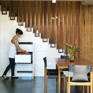 Example of a midcentury modern dining room design in Perth