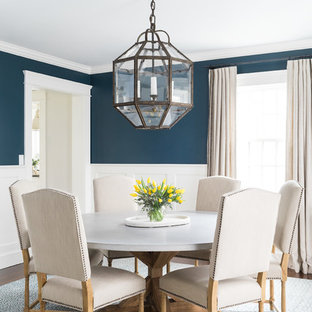 Beach style enclosed dining room photo in Boston with blue walls