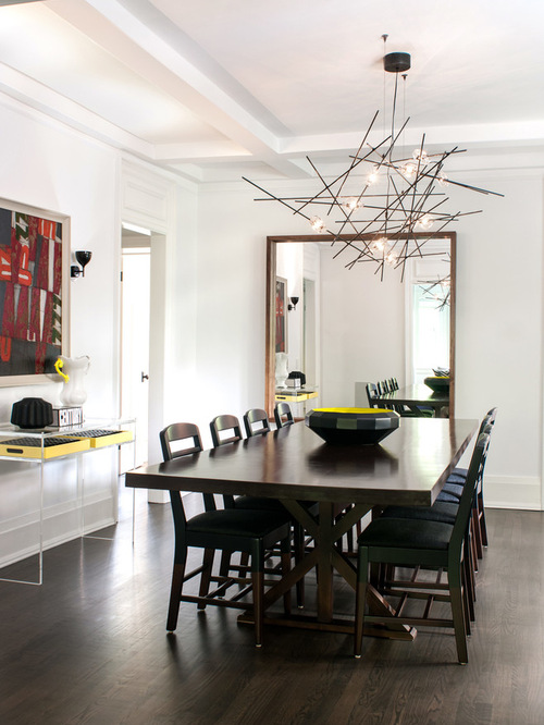 Two chandeliers over dining table houzz for Q station dining room