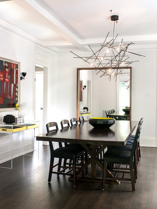 inspiration for a contemporary dining room remodel in toronto with white walls and dark hardwood floors - Dining Room Lighting Contemporary