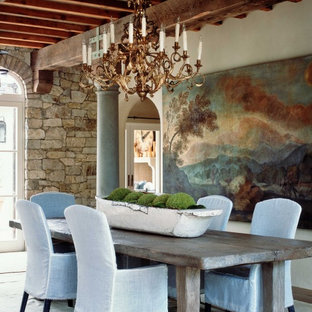 Example of a mountain style dining room design in Orange County