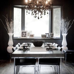 Immagine di una sala da pranzo bohémian con parquet scuro