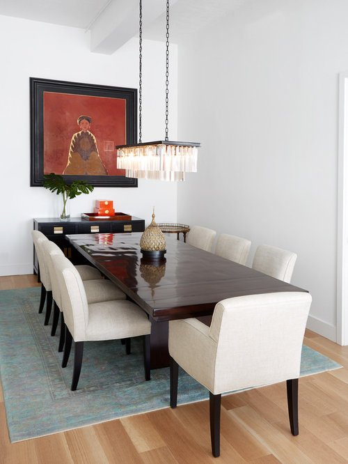 Mid Sized Trendy Dining Room Photo In New York With White Walls, Light Wood