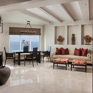 Imagen de comedor de estilo zen, grande, abierto, con paredes beige, suelo de mármol y suelo beige
