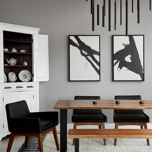 Mid Sized Trendy Light Wood Floor Dining Room Photo In Chicago With Gray Walls And