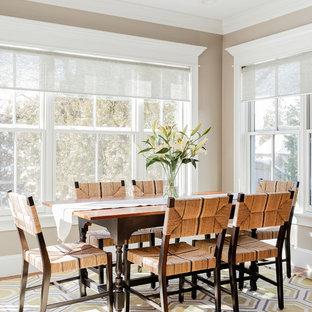 Foto di una piccola sala da pranzo tradizionale con pareti beige