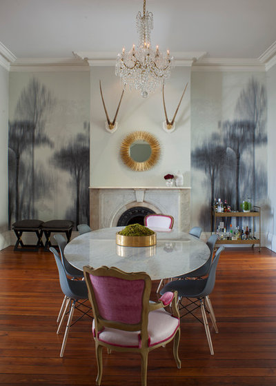 Transitional Dining Room by Rethink Design Studio