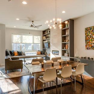 Idee per una sala da pranzo aperta verso il soggiorno minimal di medie dimensioni con cornice del camino piastrellata, pareti beige, parquet scuro e camino lineare Ribbon