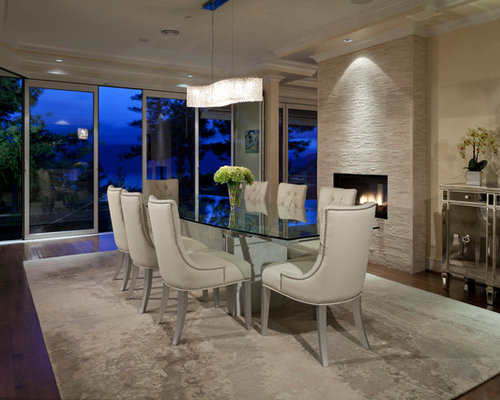 Contemporary dark wood floor dining room idea in Vancouver with beige walls  and a standard fireplace. Dining Room Fireplace   Houzz