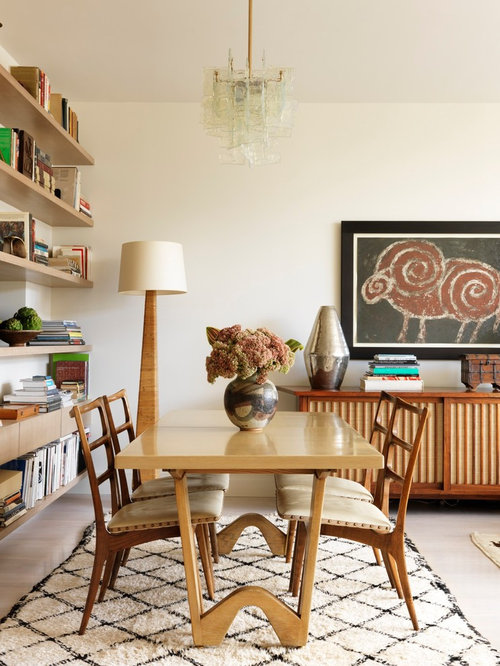 Inspiration For A Small 1960s Light Wood Floor Great Room Remodel In New York With White
