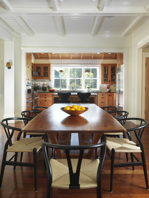 country kitchendining combo photo in providence with beige walls and dark hardwood floors. Interior Design Ideas. Home Design Ideas